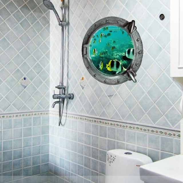 Preferred 3D Wall Art For Bathroom For Underwater World Wall Stickers 3D Wall Poster Art Decals Mordern (View 2 of 15)