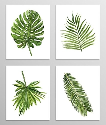 Preferred Amazon: Green Leaf Art #a077 – Set Of 4 Art Prints (8X10) (View 13 of 15)
