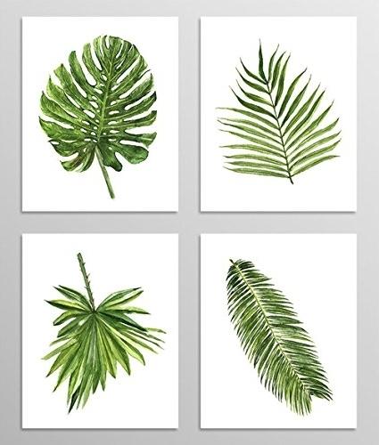 Preferred Amazon: Green Leaf Art #a077 – Set Of 4 Art Prints (8X10) (View 13 of 15)