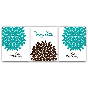 """Preferred Amazon: Home Decor Wall Art """"live Laugh Love"""" Turquoise And Within Turquoise And Brown Wall Art (View 4 of 15)"""