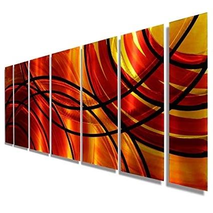 Preferred Amazon: Red, Orange, Gold & Black Abstract Metal Wall Art In Abstract Metal Wall Art Painting (View 12 of 15)