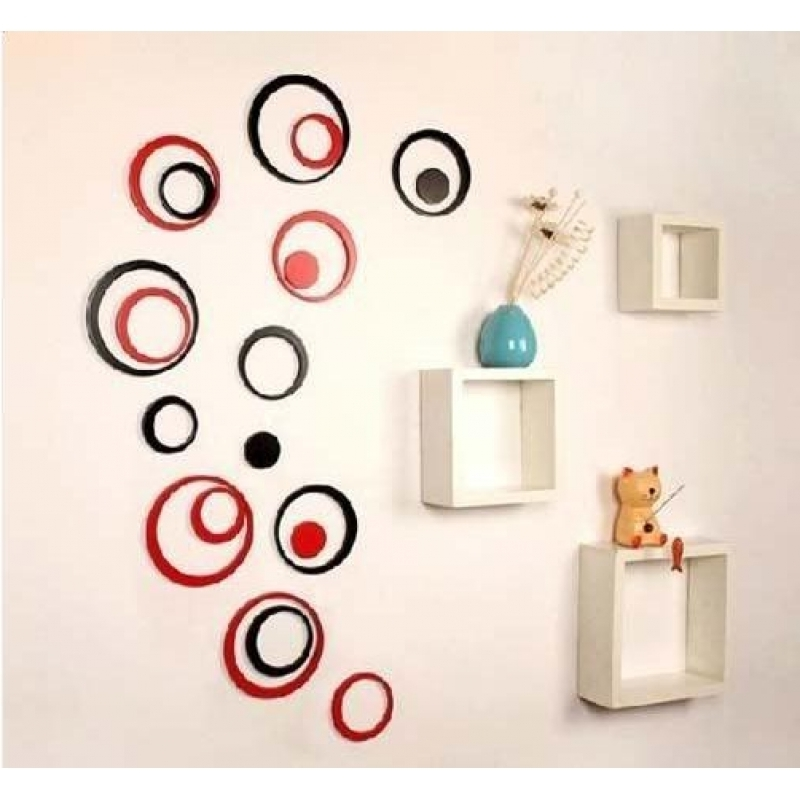 Preferred Circles 3D Wall Art Intended For 5 Sets Diy Circles Ring Stereo Wall Stickers Mural Indoor 3D Wall (View 12 of 15)