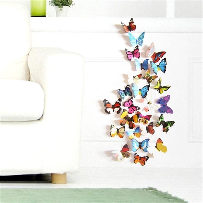 Preferred Colorful Design 3D Butterfly Wall Sticker Decor Butterflies Art Wall Intended For 3D Butterfly Wall Art (View 15 of 15)