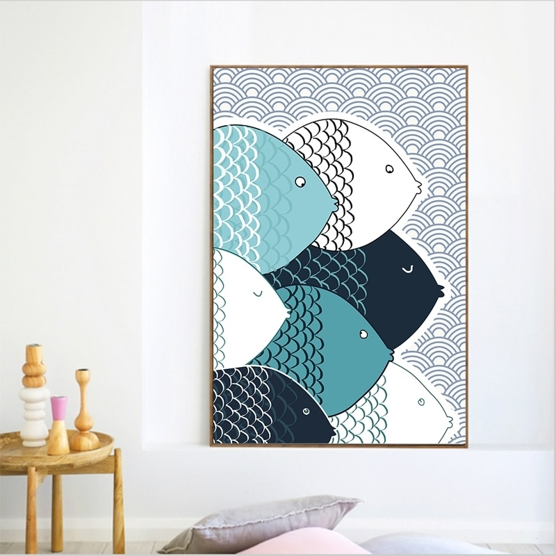 Preferred Colorfulboy Modern Abstract Fish Canvas Painting Geometry Wall Art In Abstract Fish Wall Art (View 14 of 15)