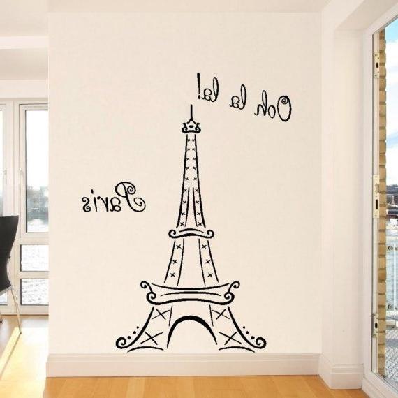 Preferred Eiffel Tower Wall Art Eiffel Tower Ooh La La Paris Vinyl Lettering Intended For Paris Vinyl Wall Art (View 12 of 15)