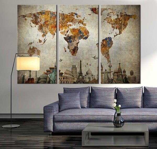 Preferred Framed World Map Wall Art For World Map Wall Art Framed Innovative Stunning Wall Art World Map (View 12 of 15)