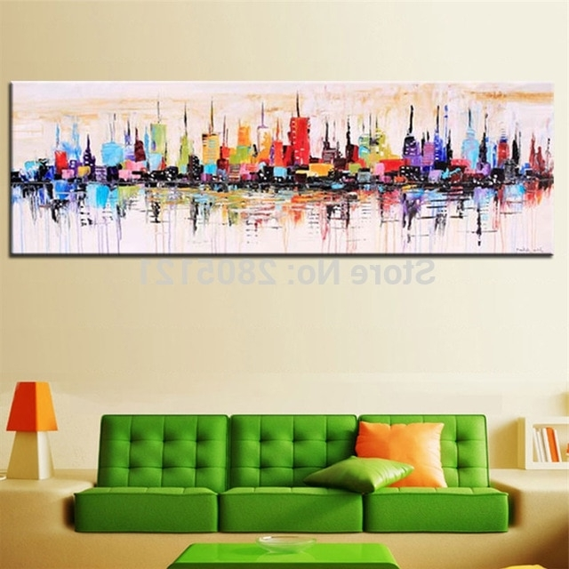 Preferred Hand Painted Modern Fashion Decorative Oil Painting Large Long Intended For Long Abstract Wall Art (View 10 of 15)