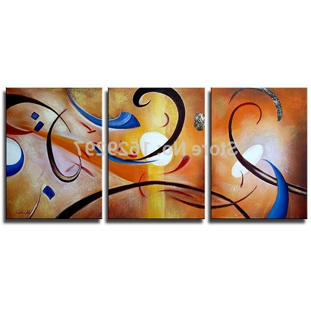 Preferred Happiness Abstract Wall Art Regarding Happiness Abstract Oil On Canvas Set Of 3 Hand Painted Oil Painting (View 2 of 15)