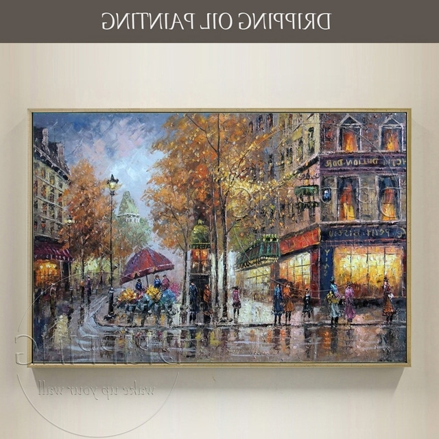 Preferred Large Canvas Wall Decor Hand Painted High Quality Modern Paris Pertaining To Street Scene Wall Art (View 4 of 15)