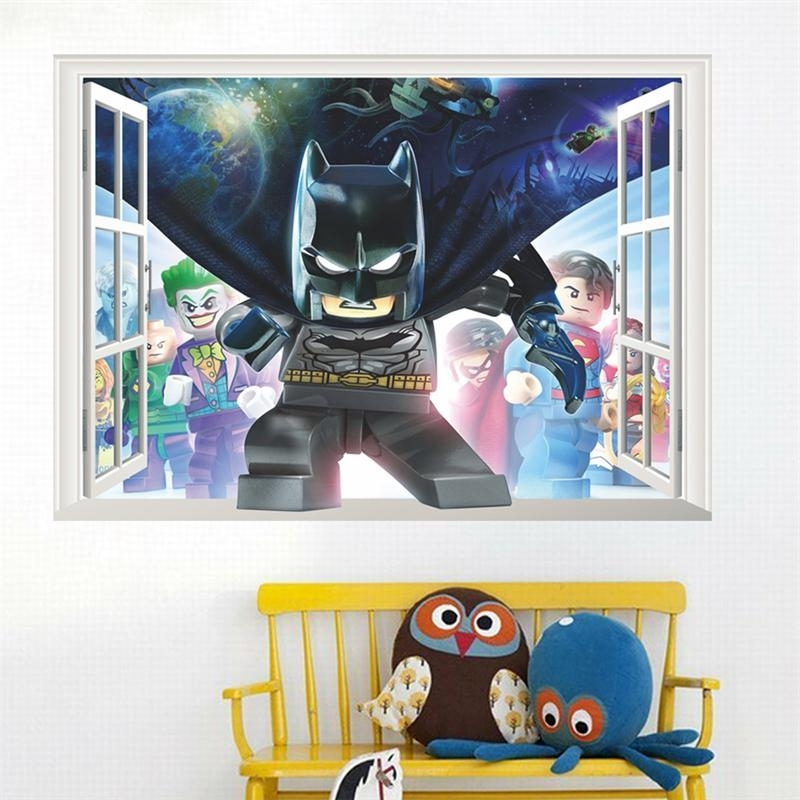 Preferred Lego Batman Super Heros Windows Wall Stickers Kids Room Decoration With Regard To Batman 3D Wall Art (View 12 of 15)