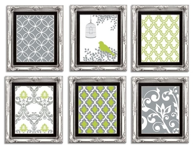 Preferred Lime Green Wall Art In Gallery Wall Art Arrangement In Lime Green, Grey, And White (View 15 of 15)