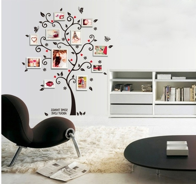 Preferred Love Coco 3D Vinyl Wall Art In Black Family Tree Photo Frame Wall Stickers Dorm Office Classroom (View 13 of 15)