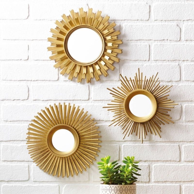 Preferred Mirror Circles Wall Art Within New Sunburst Gold Set Of 3 Unique Starburst With Round Mirrors Wall (View 11 of 15)