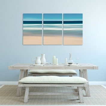 Preferred Nautical Wall Art, Canvas Triptych 3 From Katherine Gendreau Inside Abstract Beach Wall Art (View 9 of 15)