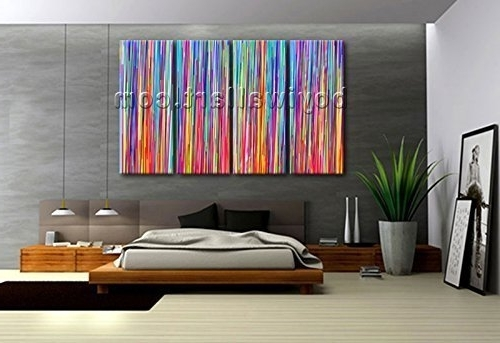 Preferred Oversized Abstract Wall Art For Amazon: Extra Large Multicolored Striped Abstract Contemporary (View 14 of 15)