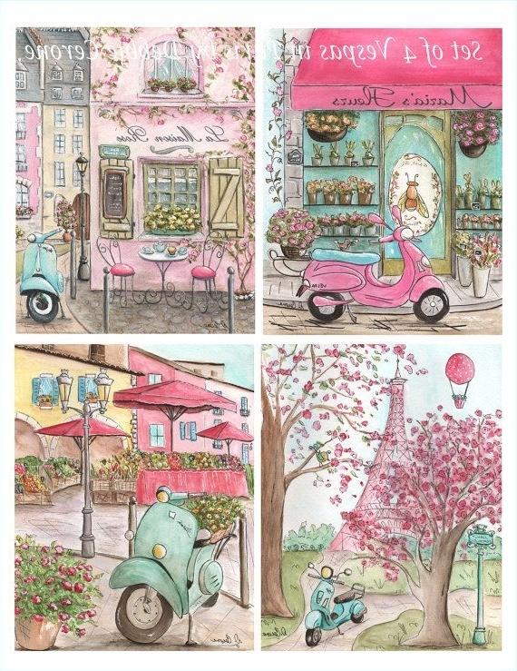 Preferred Paris Decor, Paris Art Prints, Set Of 4 Personalized Paris Nursery With Paris Theme Nursery Wall Art (View 12 of 15)