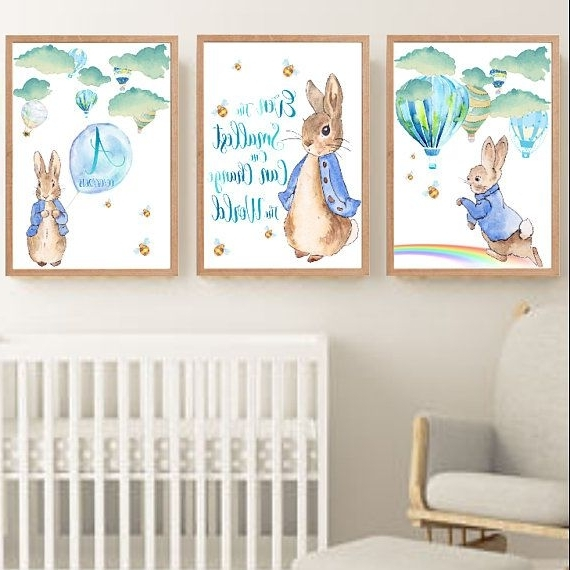 Preferred Peter Rabbit Wall Art In Peter Rabbit And Hot Air Balloons Nursery Decor Wall Art Print Set (View 11 of 15)