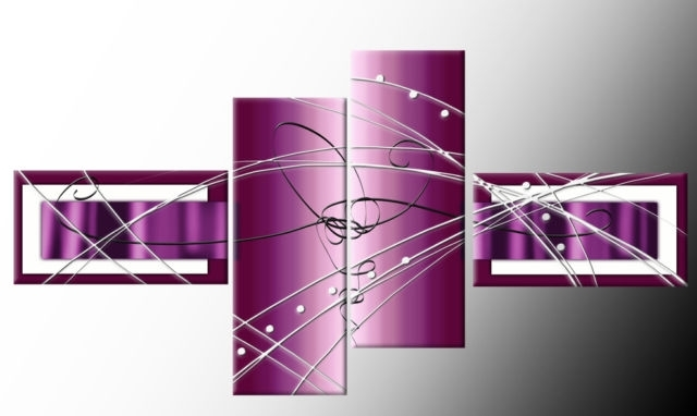 Preferred Plum Wall Art With Regard To Plum Purple Wide Stretch 4 Panel Abstract 146Cm 57Inch Canvas Art Print (View 4 of 15)