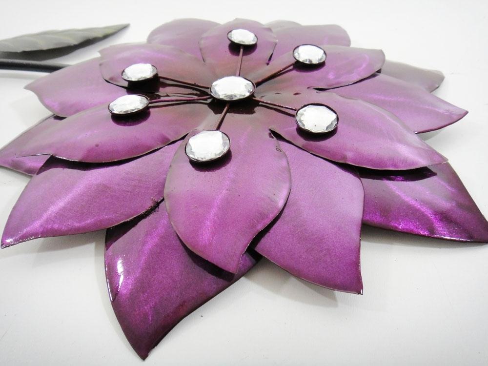 Preferred Purple Flower Metal Wall Art Within Wall Art Design Ideas: Jewel Flower Purple Metal Wall Art, Purple (View 4 of 15)