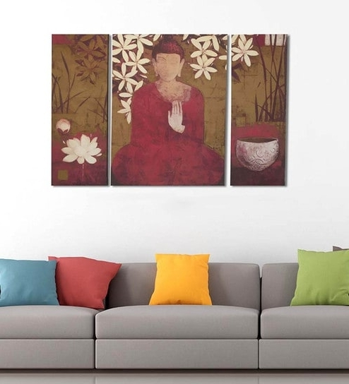 Preferred Split Wall Art With Buy Cotton & Canvas 24 X 39 Inch Buddha Canvas Split Art – Set Of  (View 11 of 15)