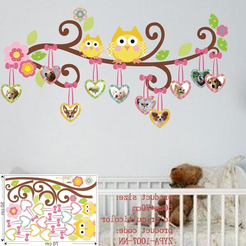 Preferred Wall Art Stickers For Childrens Rooms With Owl Wall Stickers For Kids Room Decorations Animal Decals Bedroom (View 4 of 15)