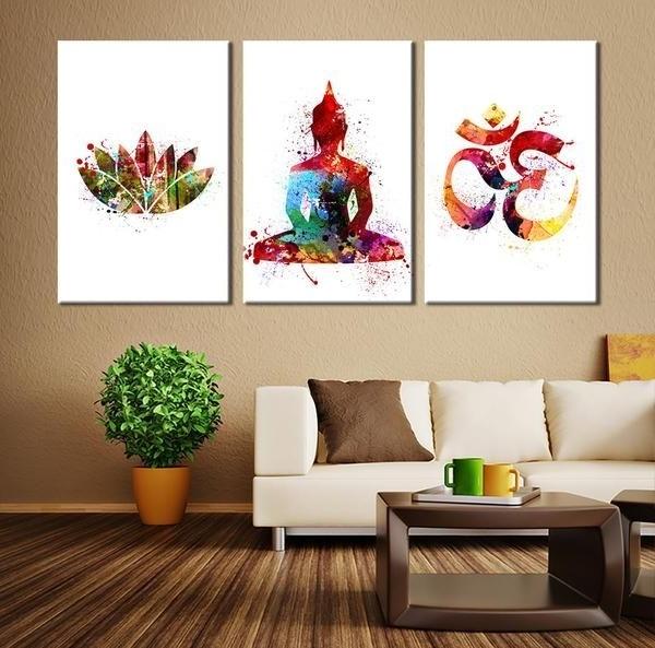 Preferred Watercolor Art – 3 Panel Buddha Wall Art Canvas Print, Buddha Om Inside Large Buddha Wall Art (View 15 of 15)