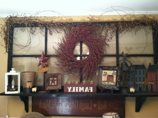 Primitive Country Decoration For Old Window Primitive Decorating With Trendy Primitive Wall Art (View 8 of 15)