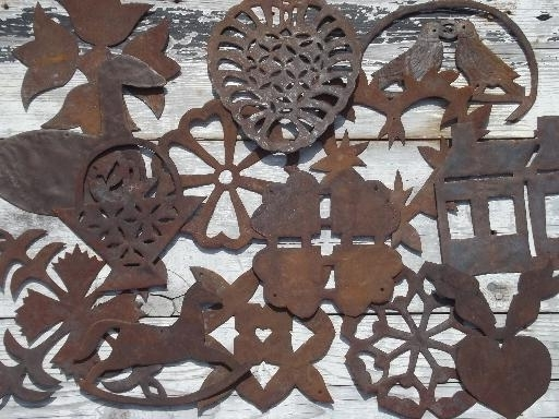 Primitive Rusty Metal Folk Art Cutouts, Country Antique Tole Ware In Well Liked Country Metal Wall Art (View 5 of 15)