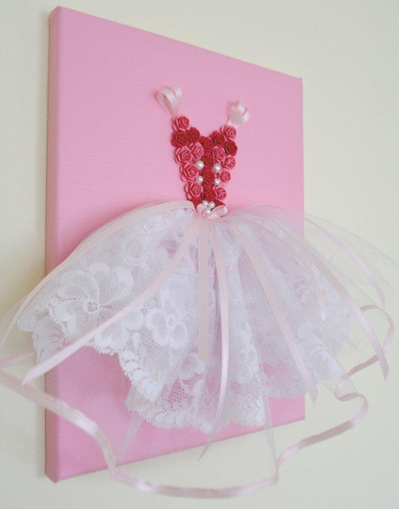 Princess Canvas Wall Art Intended For Trendy Princess Dress Wall Art In Pink And From Florasshop On Etsy (View 7 of 15)