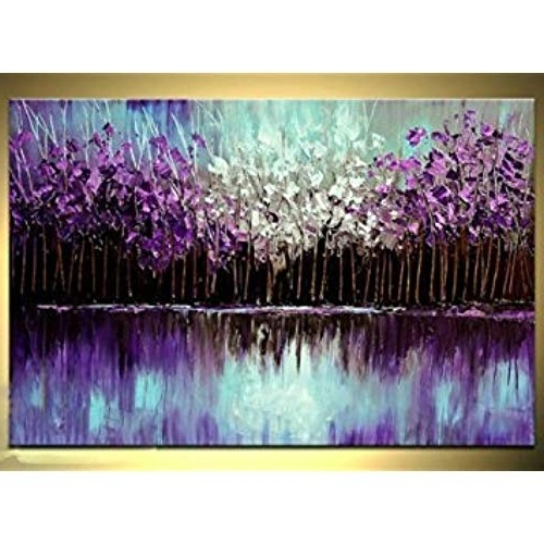 Purple Abstract Wall Art: Amazon Throughout Most Current Purple And Grey Abstract Wall Art (View 7 of 15)