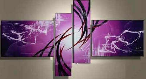 Purple Abstract Wall Art Intended For Recent Hand Painted Oil Wall Art Purple Clouds Home Decoration Modern (View 8 of 15)
