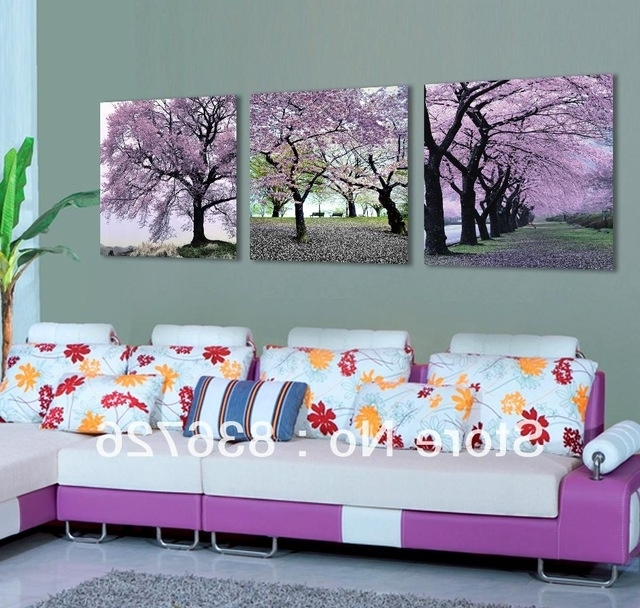 Purple Canvas Wall Art With Most Up To Date Free Shipping 3 Piece Canvas Wall Art Flower Wall Canvas Paintings (View 14 of 15)