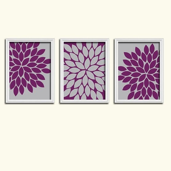 Purple Gray Wall Art, Eggplant Bedroom Canvas Or Print, Floral Pertaining To Favorite Aubergine Wall Art (View 9 of 15)