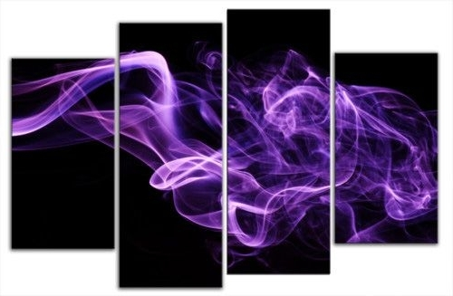 Purple Smoke On Black Abstract Canvas Wall (View 15 of 15)