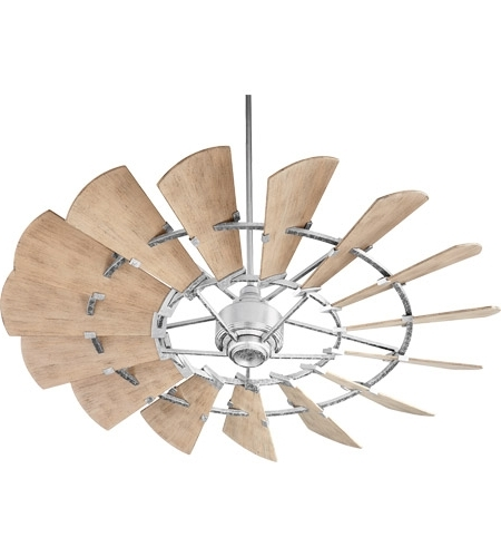 Quorum 196015 9 Windmill 60 Inch Galvanized With Weathered Oak In Best And Newest Outdoor Ceiling Fans (View 13 of 15)