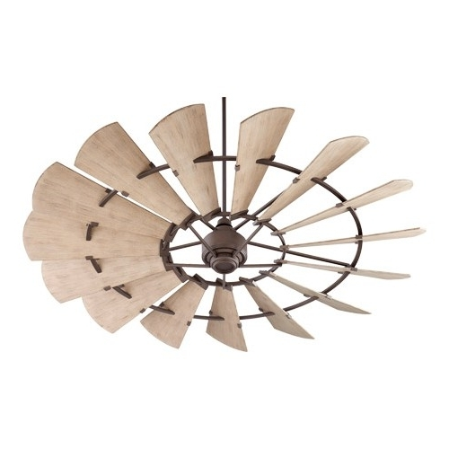 Quorum Outdoor Ceiling Fans Inside Most Up To Date Quorum 197215 86 Windmill 72 Inch Oiled Bronze With Weathered Oak (Gallery 15 of 15)