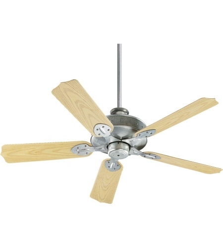 Quorum Outdoor Ceiling Fans inside Popular Quorum 137525-9 Hudson 52 Inch Galvanized With Medium Oak Blades