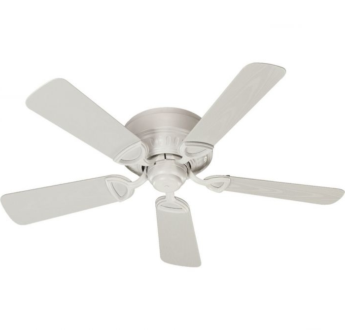 "Quorum Outdoor Ceiling Fans with regard to Well-liked Quorum Medallion Patio 42"" 5-Blade Patio Fan In Studio White"