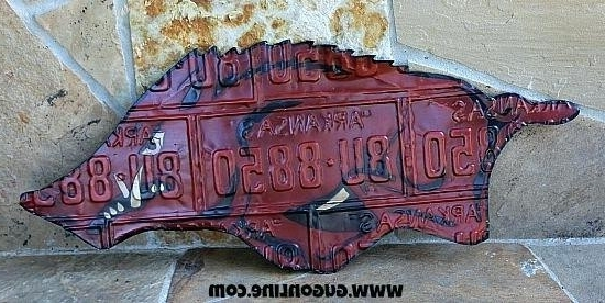 Razorback Wall Art Throughout Latest Arkansas Razorback Wall Art Rustic Metal License Plate Endearing (View 11 of 15)