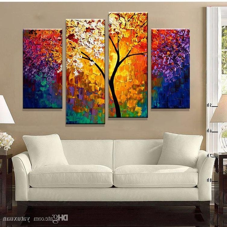 Recent 2018 Bright Life Tree Picture Painting Handmade Modern Abstract Oil Throughout Bright Abstract Wall Art (View 8 of 15)