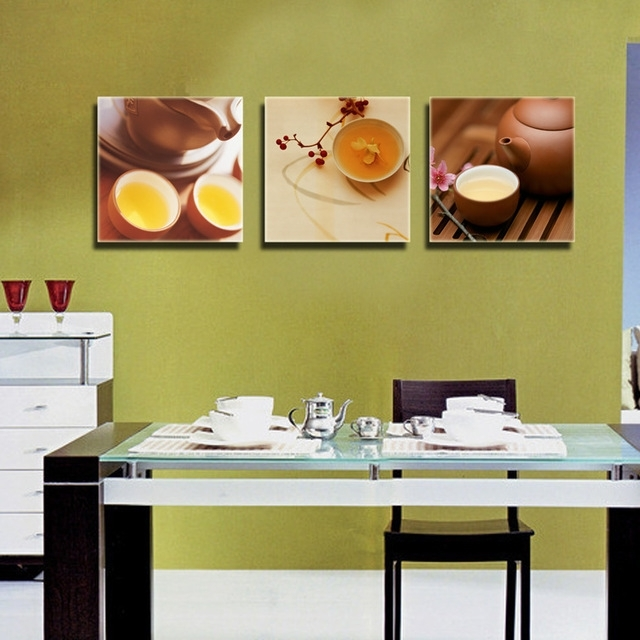 Recent 3 Piece Canvas Wall Art Kitchen Dinning Room Wall Decor Oil Painting Throughout Wall Art For Kitchens (View 15 of 15)
