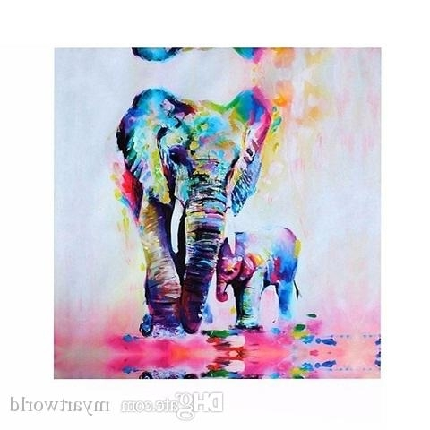 Recent Abstract Elephant Wall Art Inside 2018 Framed Amazing Elephant & Baby,pure Hand Painted Modern Wall (View 14 of 15)