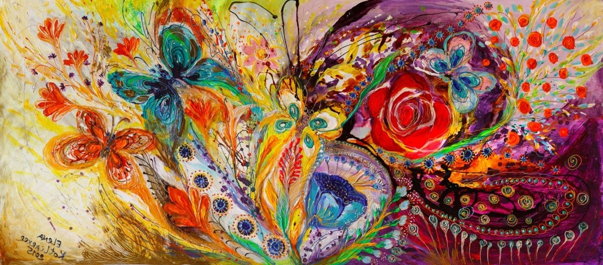 Recent Abstract Expressionism Wall Art Pertaining To The Flowers And Butterflies (Elena Kotliarker) (View 9 of 15)