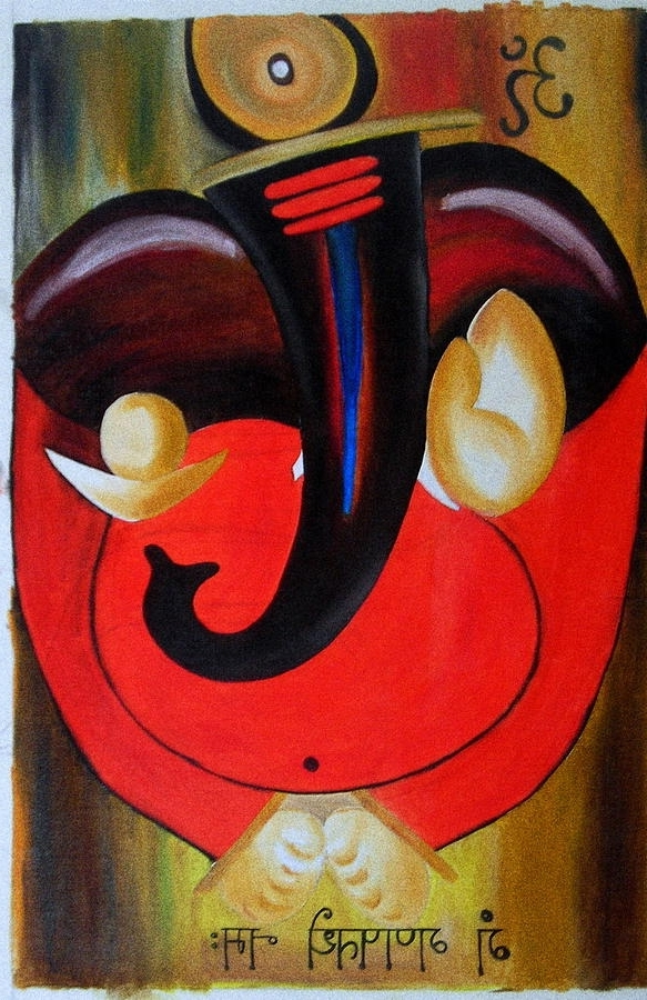 Recent Abstract Ganesha Wall Art Throughout Abstract Ganesh Paintnig Paintingkavitha Unachigi (View 12 of 15)