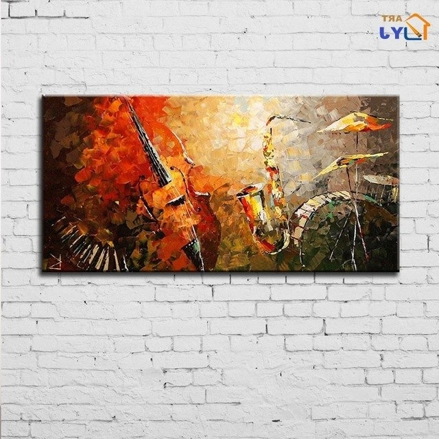 Recent Abstract Jazz Band Wall Art Pertaining To Jazz Band Wall Art Wall Picture For Living Room Hand Painted (View 2 of 15)