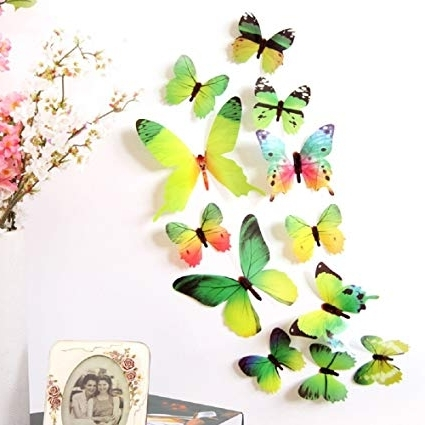 Recent Amazon: Amaonm 24 Pcs 3D Pvc Colorful Butterfly Wall Decals In Diy 3D Butterfly Wall Art (View 12 of 15)