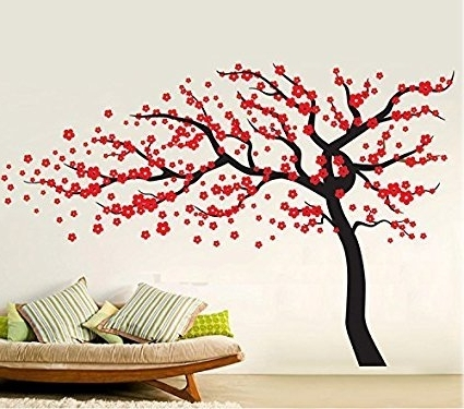 "Recent Amazon: Amaonm Removable 102""x67"" Giant Large Black Vinyl Cherry Inside Red Cherry Blossom Wall Art (View 9 of 15)"