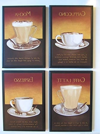 Recent Amazon: Coffee – Kitchen Wall Decor Plaques, Mocha Cappuccino Regarding Cafe Latte Kitchen Wall Art (View 14 of 15)