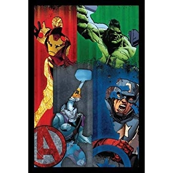 Recent Amazon: Cool Marvel Comic Framed Avengers 3D Wall Art For Kids Inside Marvel 3D Wall Art (View 14 of 15)