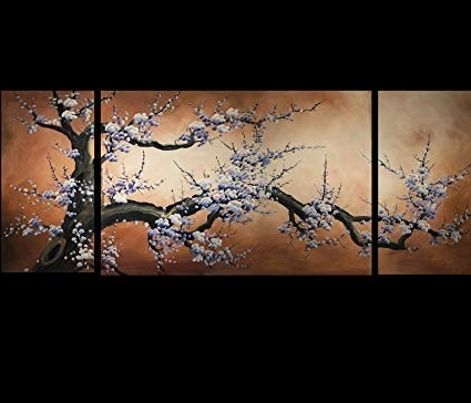 Recent Amazon: Japanese Cherry Blossom Canvas Wall Art Modern Intended For Abstract Cherry Blossom Wall Art (View 11 of 15)